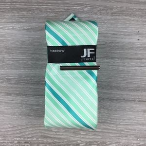 JF J. Ferrar Mint Green Striped Narrow Tie